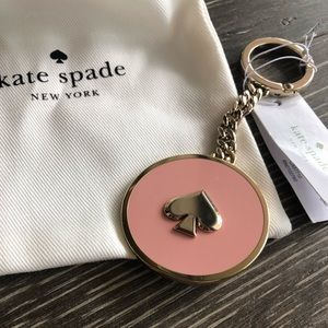 kate spade gold and pink enamel keychain